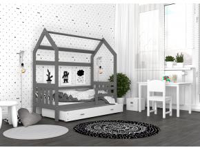 detska postel montessori domcek 2 sivo biela