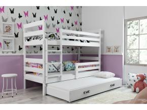 detska poschodiva postel s pristelkou ERYK 3 BIELA BIELA