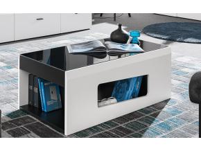 moderny cierno biely konferencny stolik RAKE cierny mat biely mat cierne sklo