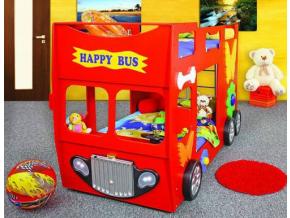 Detská poschodová posteľ Happy Bus červený