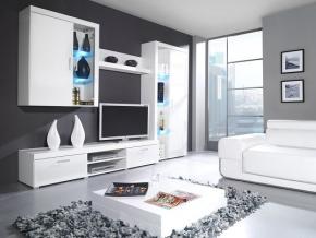 Obývacia stena SAMBA B biela-biely lesk