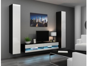 Obývacia stena Vigo IV new čierna-biela