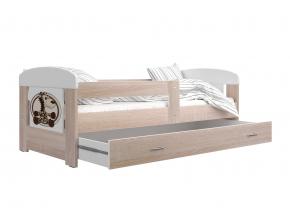 prakticka detska postel FILIP s matracom a rostom dub sonoma zirafa