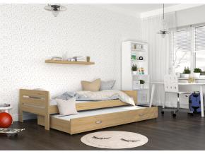 moderna detska hneda postel BEN so zasuvkou borovica