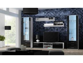 Obývacia stena Soho 4 biela/čierny lesk