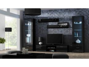 Obývacia stena Soho 4 čierna/čierny lesk