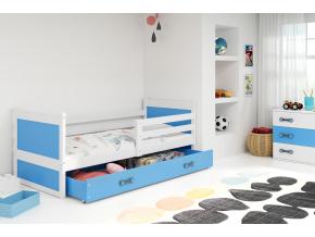moderna detska jednolozkova postel s uloznym priestorom RICO BIELA MODRA