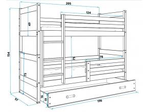 Detská poschodová posteľ RICO / BOROVICA 200x90