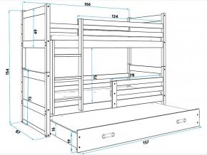 Detská poschodová posteľ s prístelkou RICO 3 / BIELA 160x80 cm