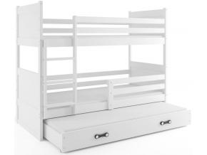 Detská poschodová posteľ s prístelkou RICO 3 / BIELA 190x80 cm
