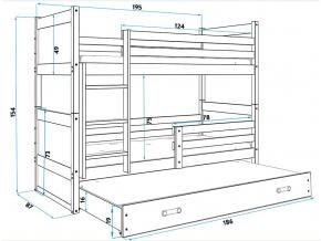 Detská poschodová posteľ s prístelkou RICO 3 / SIVÁ 190x80 cm