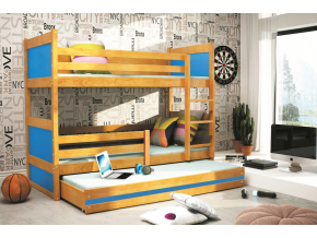Detská poschodová posteľ s prístelkou RICO 3 / JELŠA 190x80 cm