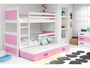 Detská poschodová posteľ s prístelkou RICO 3 / BIELA 200x90 cm