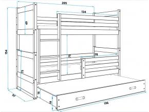 Detská poschodová posteľ s prístelkou RICO 3 / BOROVICA 200x90 cm