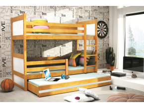 Detská poschodová posteľ s prístelkou RICO 3 / JELŠA 200x90 cm
