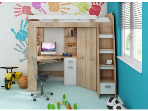 Detská rohová vyvýšená posteľ ANTRESOLA / biela