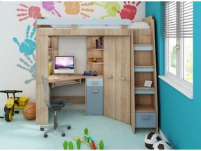 Detská rohová vyvýšená posteľ ANTRESOLA / modrá