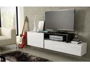 Závesný TV stolík SIGMA 3 - biela/biely lesk/čierna