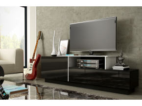 TV stolík SIGMA 3 - čierna/čierny lesk/biela