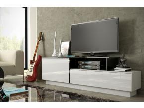 TV stolík SIGMA 3 - biela/biely lesk/čierna