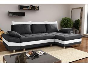 Rohová sedacia súprava PUNTOS / čierna-soft biela