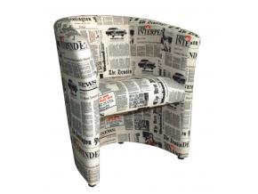 Kreslo CUBA / látka vzor noviny