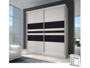 Skriňa MULTI 11 203x218 /biela/čierne sklo/biela
