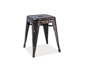 Kovový taburet SPOT / čierna patinovaná