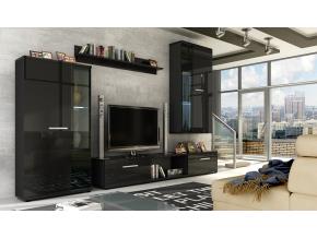 Obývacia stena LEON / čierny lesk