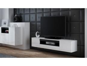Závesný TV stolík Viva biela/biely lesk/čierna