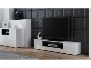 TV stolík Viva biela/biely lesk/čierna