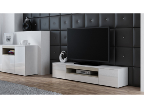 TV stolík Viva biela/biely lesk/sonoma
