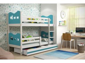 Detská poschodová posteľ MAX / BIELA