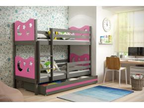 Detská poschodová posteľ MAX / SIVÁ