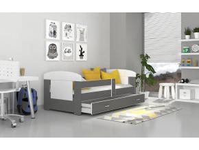 moderna detska farebna postel FILIP COLOR biela siva