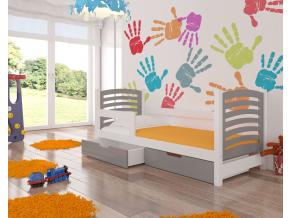 detska drevena kvalitna jednolozkova postel CAMINO biela siva