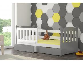 detska drevena jednolozkova postel LENA biela siva