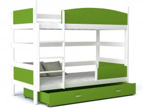 detska poschodova postel TWIST biela zelem
