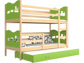 poschodova postel s pristelkou MAX 3 borovica zelena