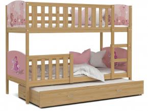 detska poschodova postel s pristelkou TAMI 3 farba borovica