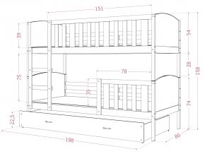 moderna biela detska postel TAMI 3 borovica