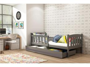 moderna detska jednolozkova postel KUBUS P so zasuvkou borovica
