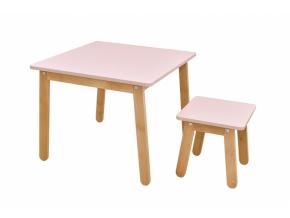 moderna zostava detskeho nabytku stol a stolicka WOODY ruzova