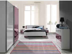 lux spálňa biela fialová lesk