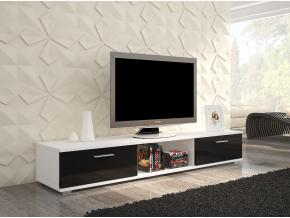 moderny tv stolik SELLA biela cierny lesk
