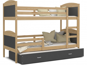 moderna poschodova postel s pristelkou MATEUSZ 3 borovica siva