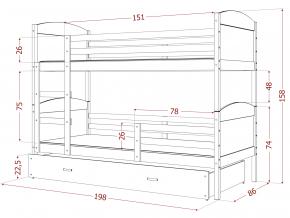 mateusz 3 detská poschodová posteľ borovica biela