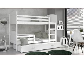 moderna poschodova postel s pristelkou MATEUSZ 3P biela cervena