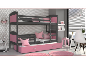 moderna poschodova postel s pristelkou MATEUSZ 3 siva ruzova