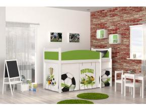 Twist antresola biela detská vyvýšená posteľ vzor 02 lopta